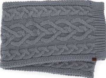 Keds Cable Knit Scarf Steeple Gray, Size One Size Women Inchess Shoes