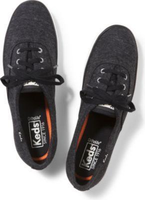Keds Champion Sweatshirt Jersey Black, Size 5m Women Inchess Shoes