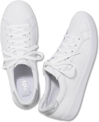 Keds Ace Leather White Sliver, Size 6m Women Inchess Shoes