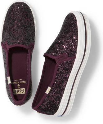 Keds X Kate Spade New York Triple Decker Glitter Deep Cherry, Size 5m Women Inchess Shoes