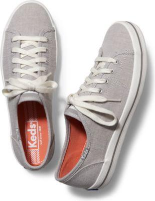 Keds Kickstart Chambray Stripe Drizzle Gray, Size 6m Women Inchess Shoes