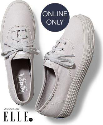 Keds Triple Mono Light Gray, Size 6.5m Women Inchess Shoes