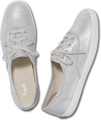 Keds Champion Metallic Linen Silver, Size 5m Women Inchess Shoes
