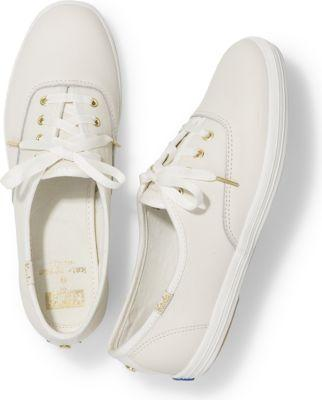 Keds X Kate Spade New York Champion Leather Cream, Size 5.5m Women Inchess Shoes