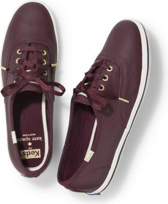 Keds X Kate Spade New York Champion Leather Deep Cherry, Size 5m Women Inchess Shoes