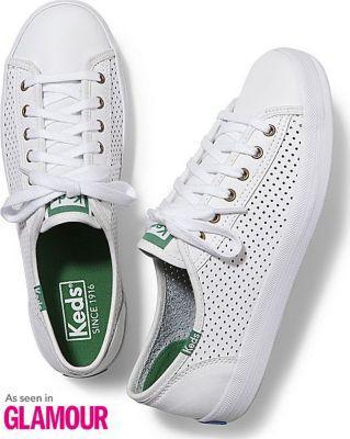Keds Kickstart Perf Leather White Green, Size 6m Women Inchess Shoes