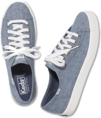 Keds Kickstart Blue Chambray, Size 5m Women Inchess Shoes