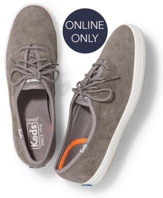 Keds Champion Suede Gray, Size 5m Women Inchess Shoes