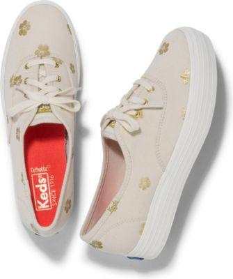 Keds Triple Hibiscus Natural Gold, Size 5m Women Inchess Shoes