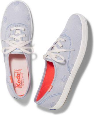 Keds Champion Pineapple Chambray Blue, Size 5m Women Inchess Shoes