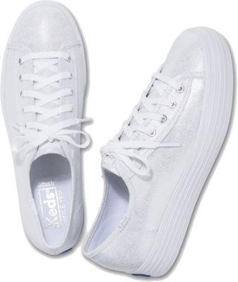 Keds Triple Kick Metallic Linen Silver, Size 5m Women Inchess Shoes