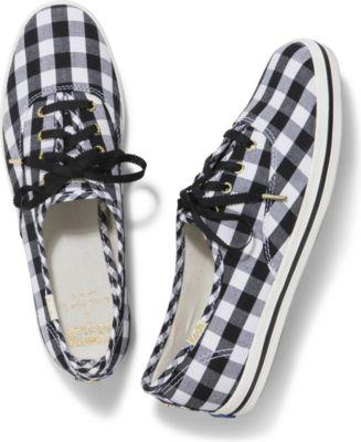 Keds X Kate Spade New York Champion Black Gingham, Size 5.5m Women Inchess Shoes