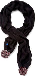 Keds Herringbone Knit Pom Scarf Black