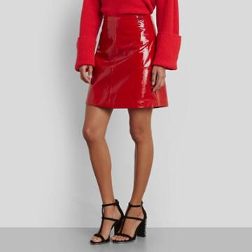 Kenneth Cole New York Leather Seamed Mini-skirt - Patriot Red