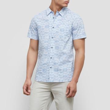 Reaction Kenneth Cole Short-sleeve Basket Print Shirt - Nautical Com