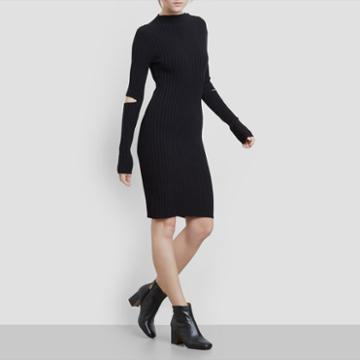 Kenneth Cole New York Cold Elbow Sweater Dress - Black
