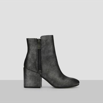 Kenneth Cole New York Rima Metallic Sheen Leather Bootie - Black