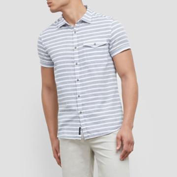 Reaction Kenneth Cole Short-sleeve Stripe Shirt - Dim Grey Com