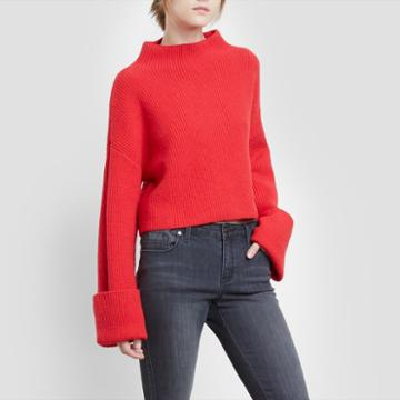 Kenneth Cole New York Wide Cuff Mock Neck Sweater - Patriot Red