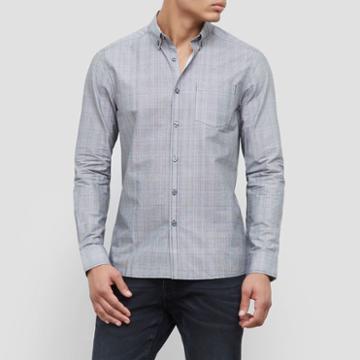 Reaction Kenneth Cole Long-sleeve Stretch Grid Print Shirt - Black