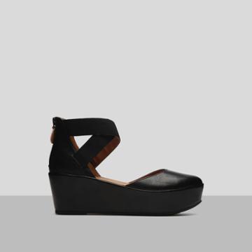Gentle Souls By Kenneth Cole Nyssa Leather Platform Zip Up Flat - Shoe - Black