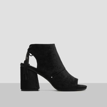 Reaction Kenneth Cole Rachelle Velvet Open-toe Heel - Black
