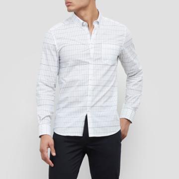 Kenneth Cole New York Long-sleeve Stretch Grid Print Shirt - White