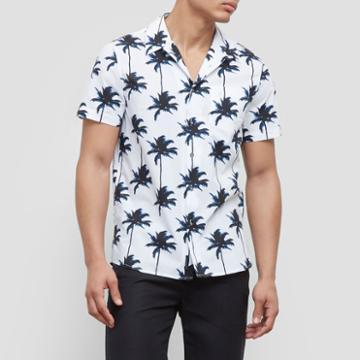 Reaction Kenneth Cole Short-sleeve Palm Tree Print Shirt - White