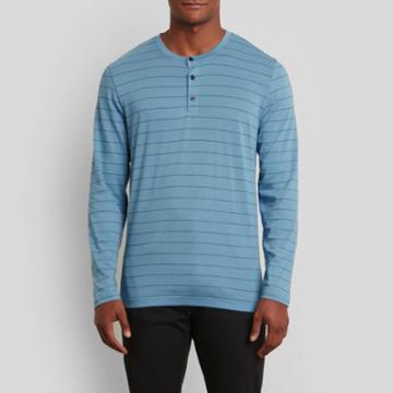 Kenneth Cole New York Long-sleeve Henley Shirt - Stripe-indigo