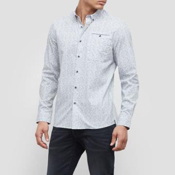 Kenneth Cole New York Long-sleeve Stretch White Noise Print Shirt - Dim Grey Com