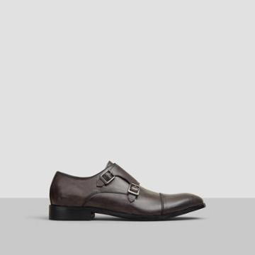 Reaction Kenneth Cole Ave-nue Double-buckle Leather Loafer - Brown