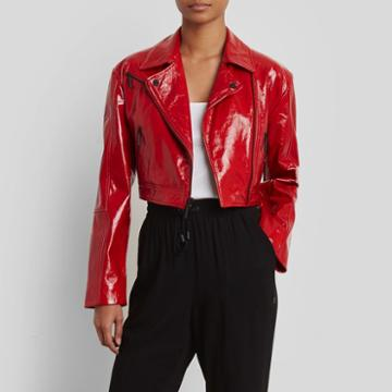 Kenneth Cole New York Cropped Patent Leather Moto Jacket - Patriot Red
