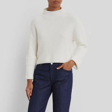 Kenneth Cole New York Wide Cuff Mock Neck Sweater - White Multi