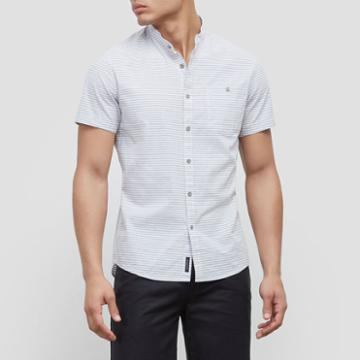Reaction Kenneth Cole Short-sleeve Striped Shirt - Bayview Comb