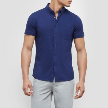 Kenneth Cole New York Button Front Polo Shirt - Ultramarine