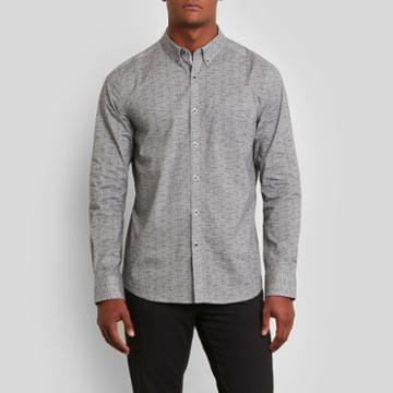 Kenneth Cole New York Long-sleeve Texture Print Shirt - Black