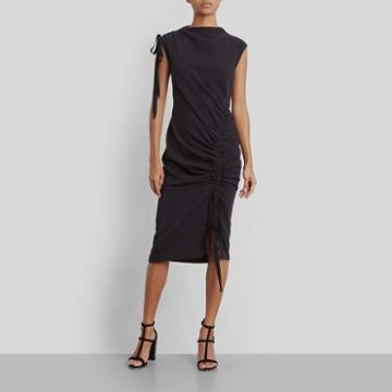 Kenneth Cole New York Curved Drawstring Dress - Black