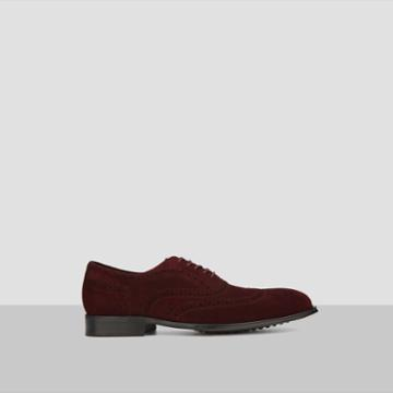 Kenneth Cole New York Suede Wingtip Shoe - Wine