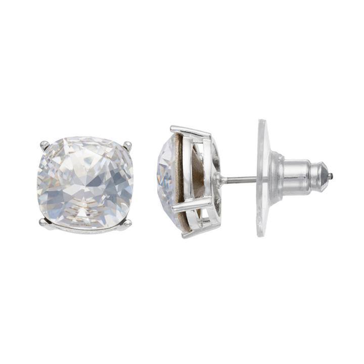 Brilliance Silver Plated Stud Earrings With Swarovski Crystals, Women's, White
