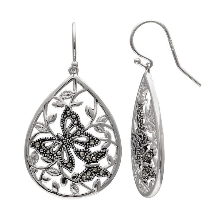Brilliance Silver Plated Marcasite Butterfly Teardrop Earrings, Women's, Black