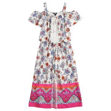 Girls 7-16 My Michelle Floral Walk-through Cold Shoulder Maxi Romper, Size: Xl, White Pink