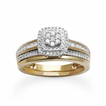 Diamond Square Halo Engagement Ring Set In 10k Gold (1/2 Ct. T.w.), Women's, Size: 7, White