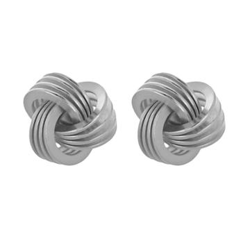 Sterling Silver Knot Stud Earrings, Grey