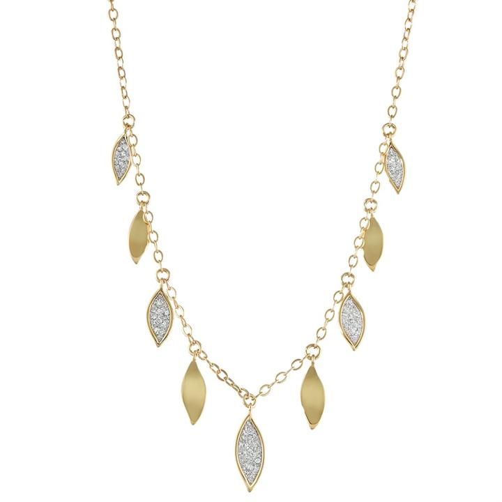 18k Gold Over Silver Glitter Leaf Necklace, Women's, Size: 18