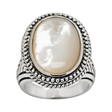 Silver Tone Mother-of-pearl Ring, Women's, Size: 8, White