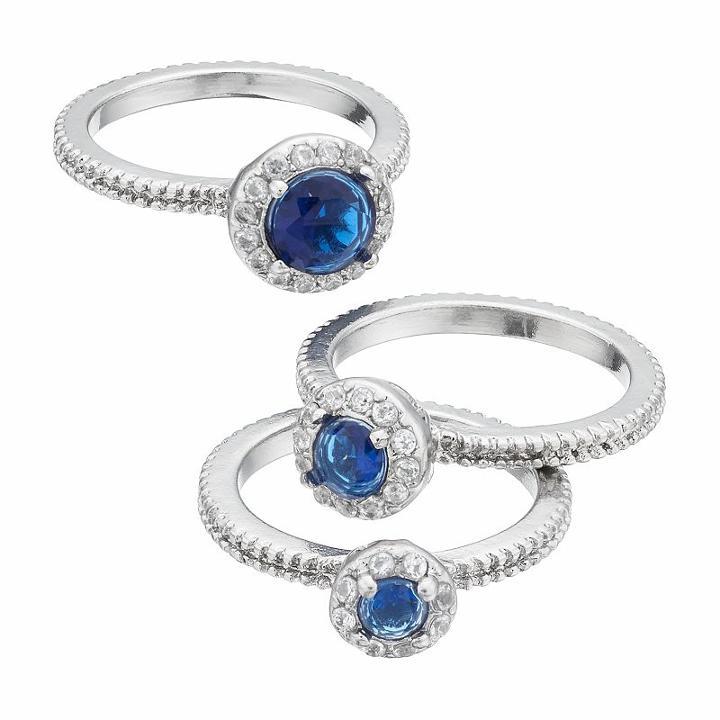 Blue Halo Ring Set, Women's, Size: 8