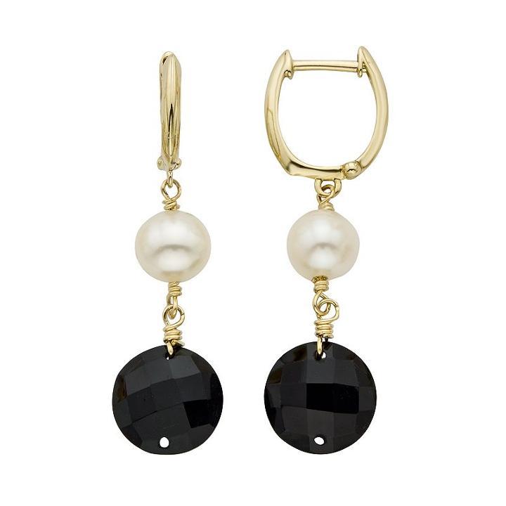 Freshwater Cultured Pearl & Onyx 14k Gold Drop Earrings, Women's, Black