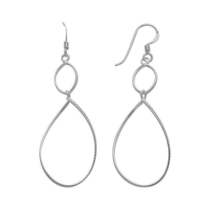 Sterling Silver Textured Teardrop Earrings, Women's