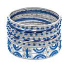 Blue Beaded Bangle Bracelet Set, Women's