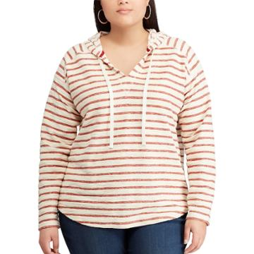 Plus Size Chaps Striped French Terry Hooded Top, Women's, Size: 3xl, Red